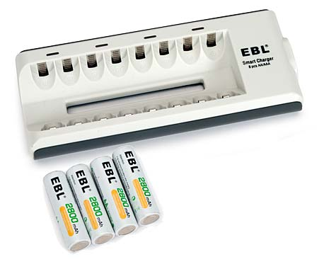 Battery Charger & AA Batteries (8)