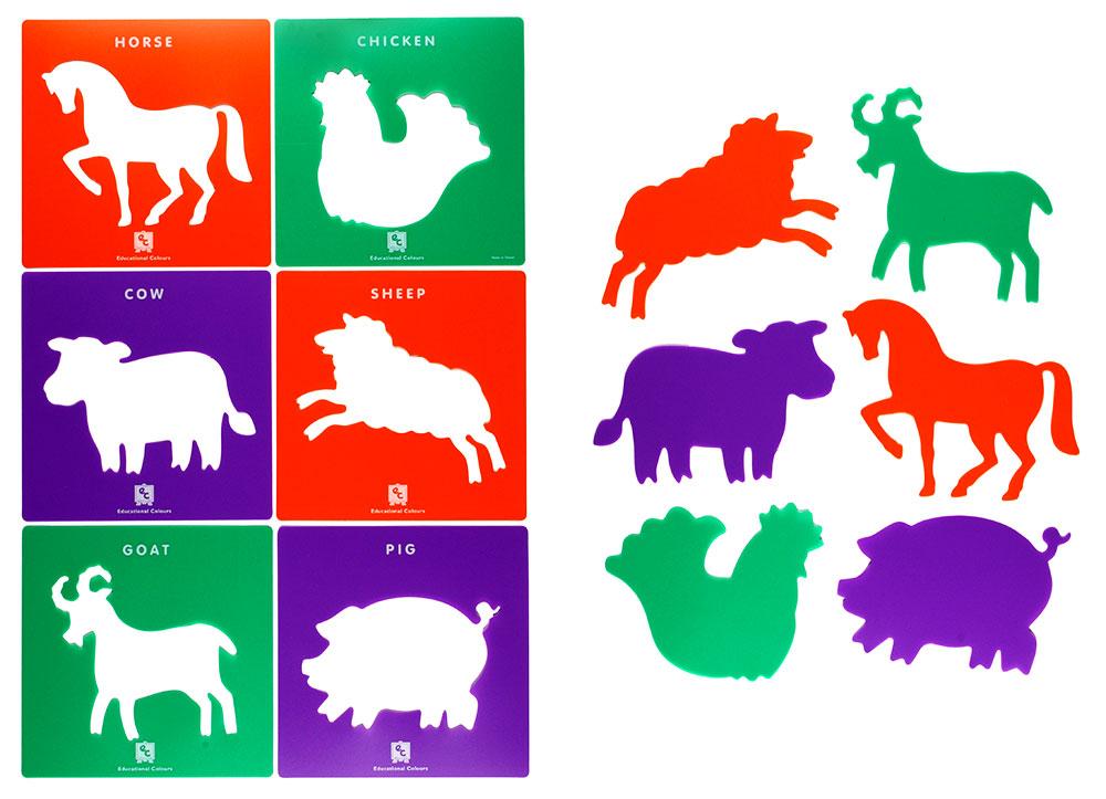 Schabloner bondgårdens djur