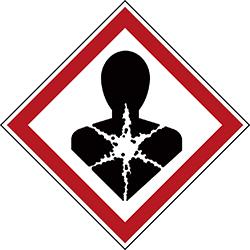Varningsetikett kemikaliebeständig - Hälsofarlig 250 st