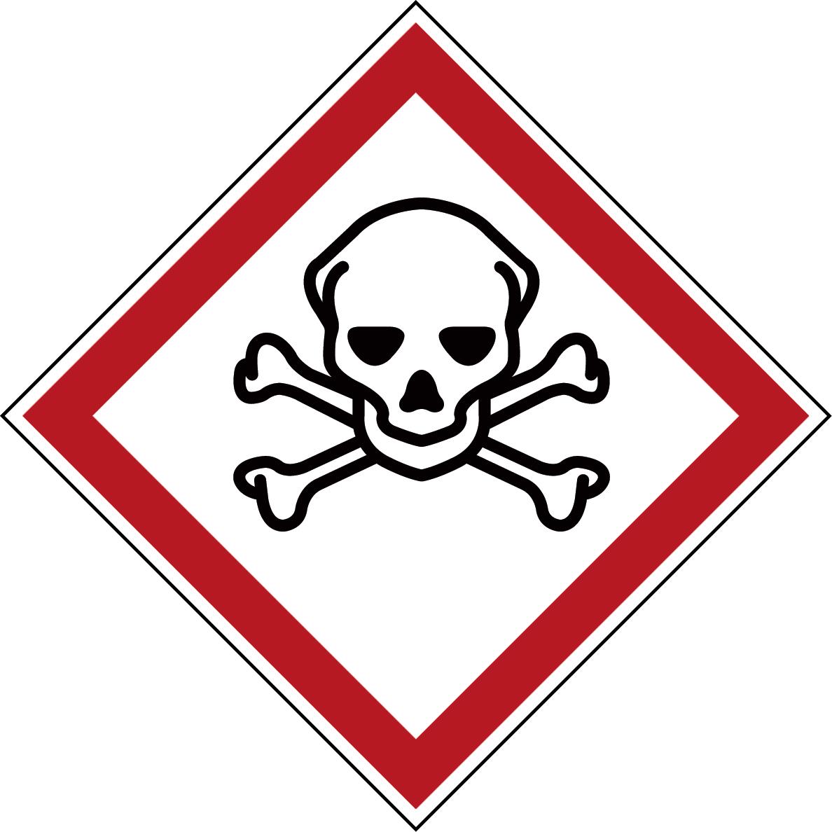Varningsetikett kemikaliebeständig - Giftig 250 st