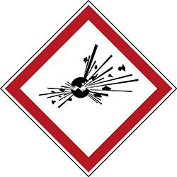Varningsetikett kemikaliebeständig - Explosiv 250 st