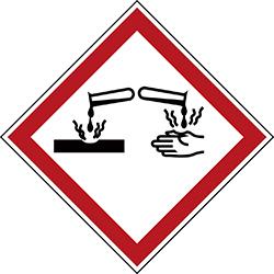 Varningsetikett rulle - Frätande 250 st