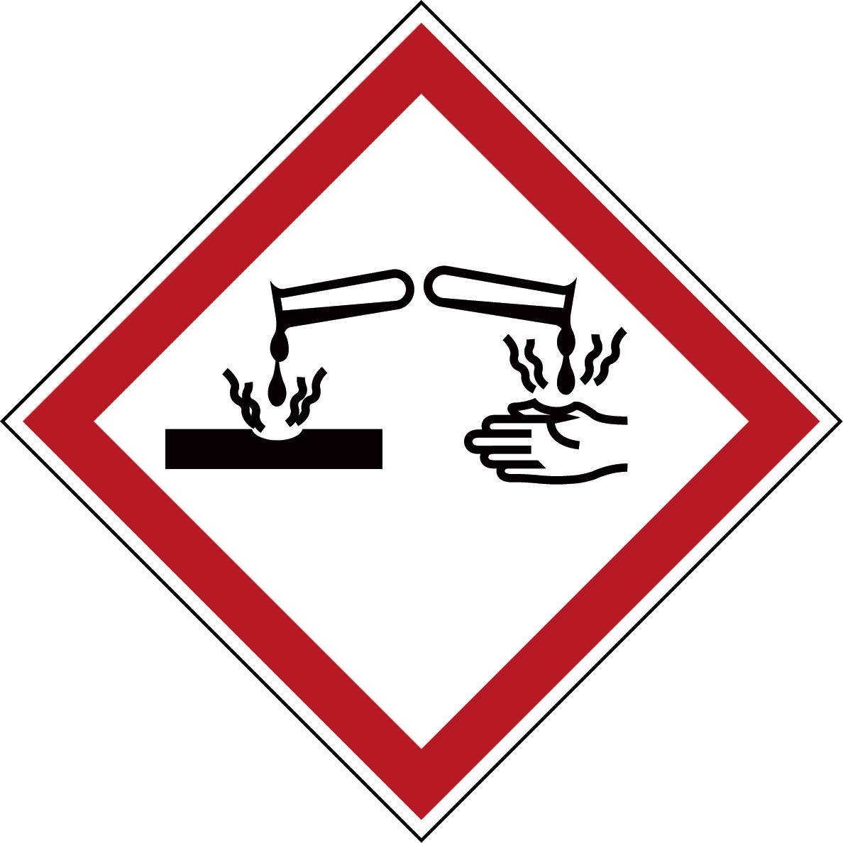 Varningsetikett kemikaliebeständig - Frätande 250 st
