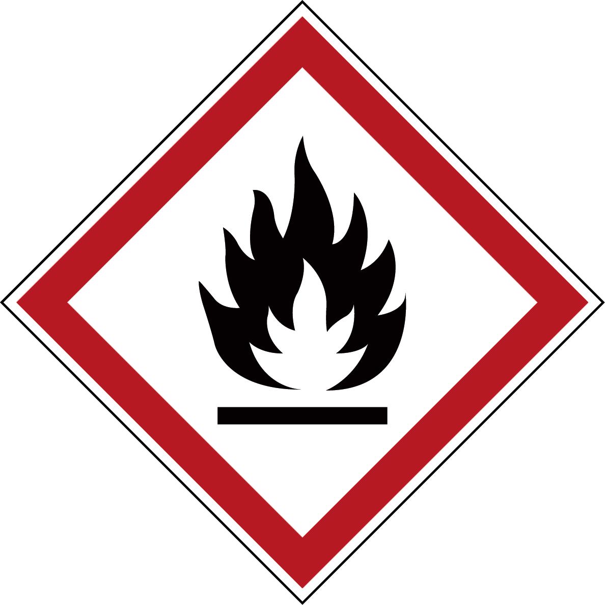 Varningsetikett kemikaliebeständig - Brandfarlig 250 st