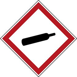 Varningsetikett rulle - Gas under tryck 250 st