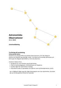Astronomiska observationer - Studiehäfte som länk