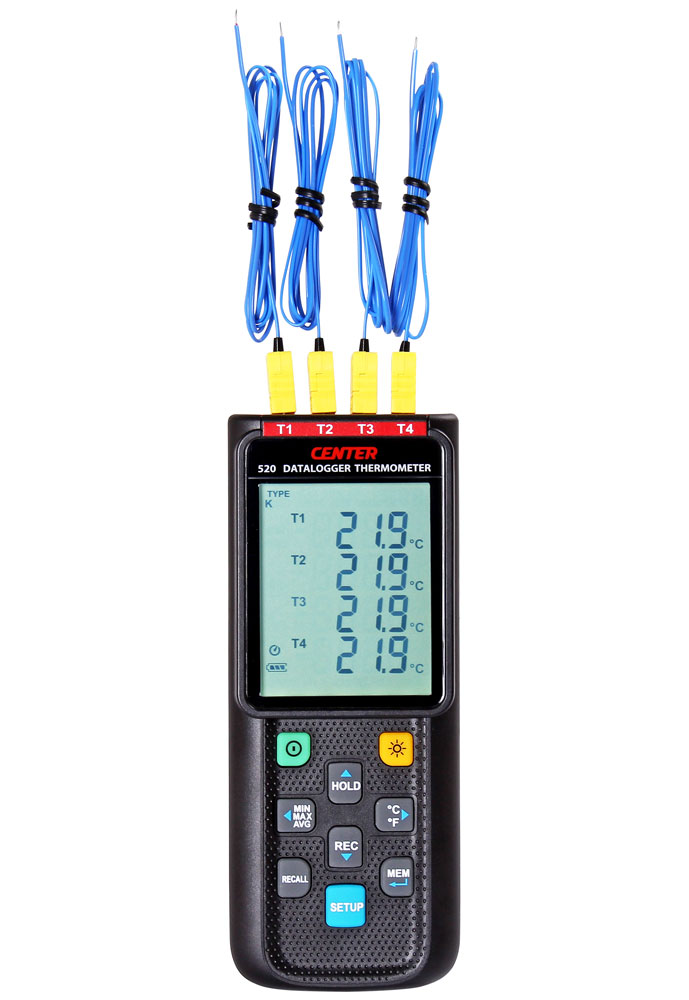 Termometer 4-kanalig med datalogger